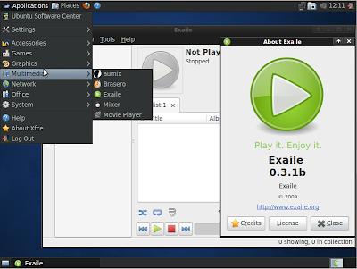 xubuntu 10.04 exaile screenshot