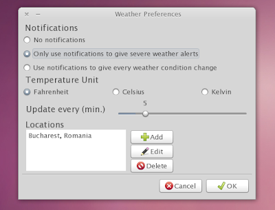 weather indicator settings