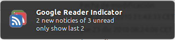 Google Reader Indicator notifications - unread items