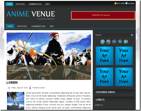 Anime Venue Blogger Template
