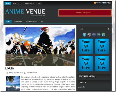 Anime Venue Blogger Template