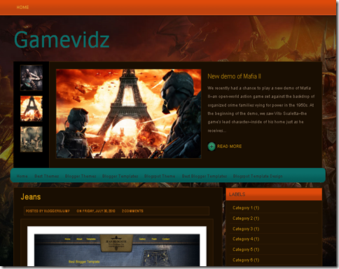 GameVidz Blogger Template