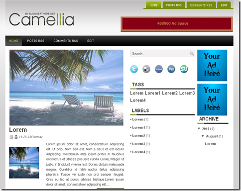 Camellia Blogger Template