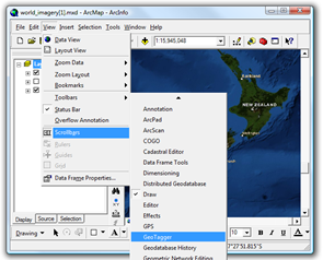 Displaying the GeoTagger Toolbar