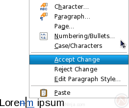 Accept or reject tracked changes (aka tracked edits, redlines) using the new right click menu in OpenOffice.org Writer 3.1