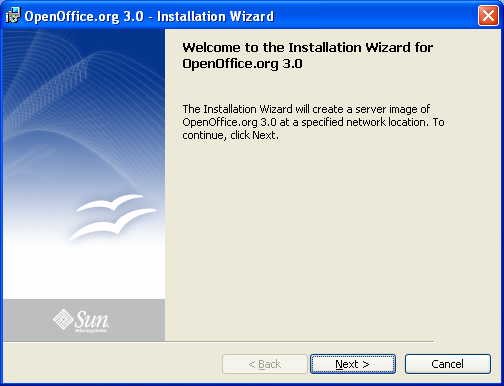 Screenshot: OpenOffice.org 3.0 network installation (administrative installation) opening dialog