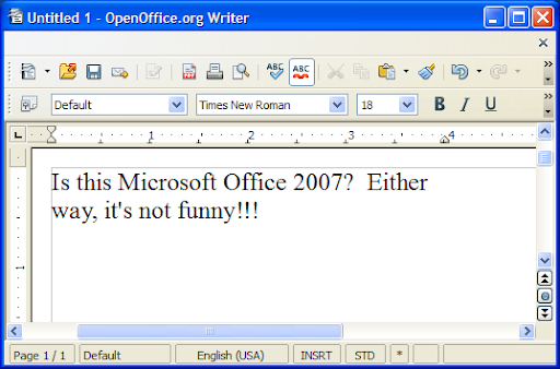 Screenshot: OpenOffice.org Writer April Fools' Prank showing missing menu bars resembling Microsoft Office 2007's ribbon UI