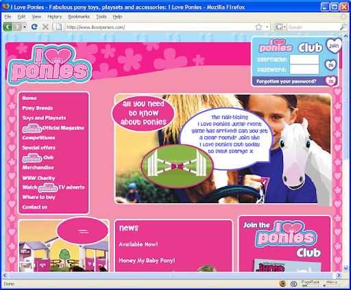 ILovePonies.com is an emasculating yet work-safe work page