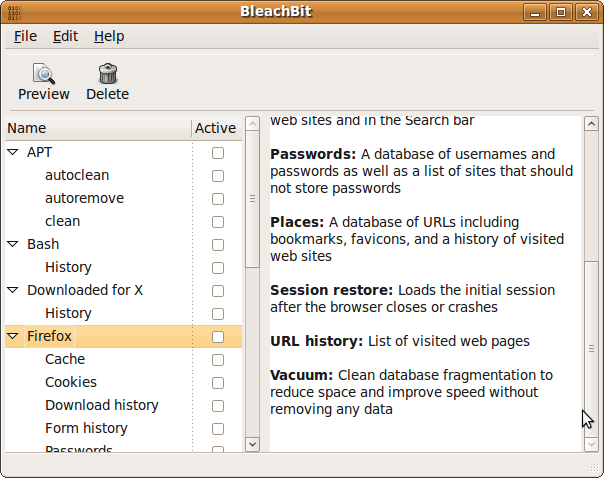 BleachBit 0.6.0 on Ubuntu 9.04 showing the Firefox preview