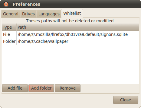 BleachBit 0.8.0 - Ubuntu 10.04 (Lucid Lynx) - Whitelisting Feature preferences