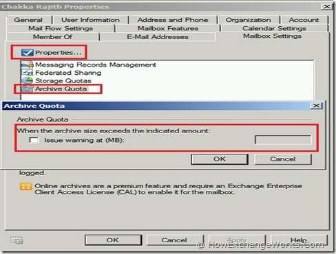Setting Archive Mailbox Quota In Exchange 2010