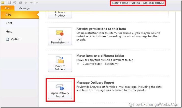 Delivery report in Outlook 2010