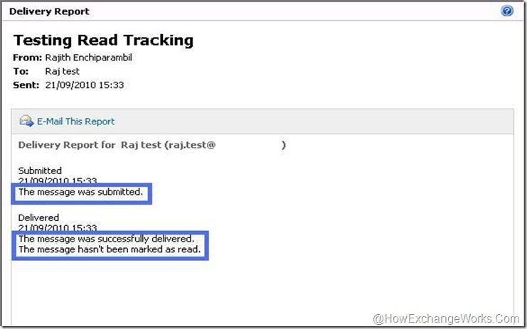 Read tracking in Exchange 2010
