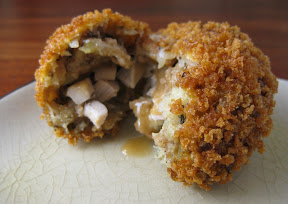 Thanksgiving Stuffing Croquettes with a Gravy Center