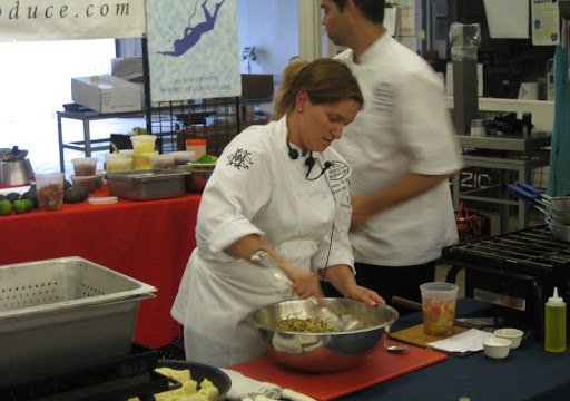 Amy DiBiase prepping the shrimp ceviche