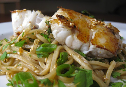 Pan-cooked Grouper with Sesame Noodles