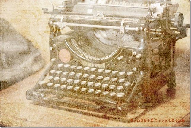 Od Underwood typewriter reworked with logo