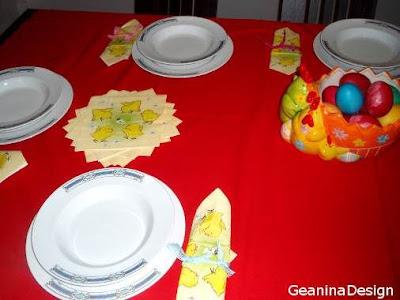 Aranjamente masa de Paste cu gargarite, detalii de primavara, privire de ansamblu. GeaninaDesign