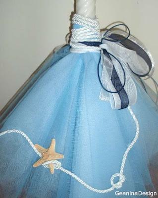 Lumanare de botez pentru baiat impodobita cu panglici albe, stea de mare si nod marinaresc, realizat GeaninaDesign.