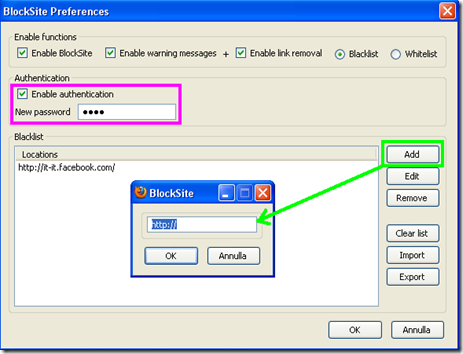BlockSite addon Firefox
