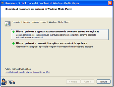 Microsoft Fix it per Windows Media Player