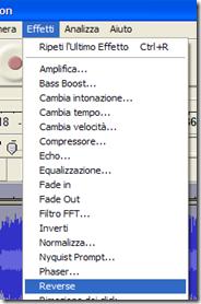 Audacity - Riprodurre audio al contrario