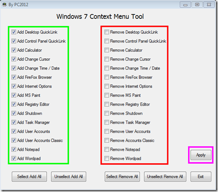 Windows 7 Context Menu Tool
