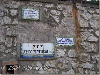 Ciao Amalfi Coast Blog Arco Naturale Sign