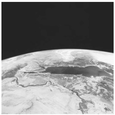 Shuttle photograph of eastern Egypt shows the Red Sea at the top, with the Gulf of Suez connecting it to the Mediterranean Sea. The Red Sea was formed by the divergence of the African and Arabian plates.
