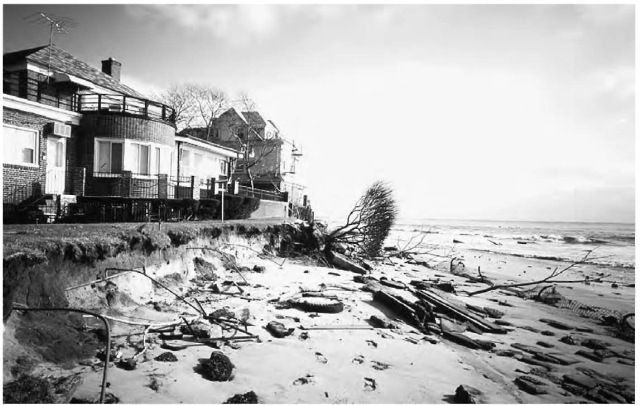 Sediment can be transported by weathering, erosion, and mass wasting. Here a winter storm has caused coastal erosion of a beach.