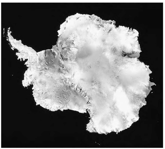 AN INFRARED SATELLITE IMAGE OF ANTARCTICA, SHOWING ICE SHELVES PROJECTING FROM THE COASTLINE. THE LARGEST ICE SHELF, THE ROSS, SITS TO THE LEFT OF THE TRANSANTARCTIC MOUNTAINS (LOWER CENTER).