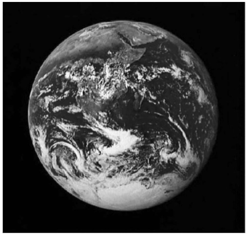 Apollo 17's view of a nearly full Earth, photographed by the author from a distance of about 34,000 miles (courtesy of NASA). This figure is available in full color at http://www.mrw.interscience.wiley.com/esst.