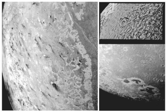 Close-up views of Triton. (Left) [JPL P34714]. Voyager 2 1989 image of the south polar terrain of Triton, showing 50 dark plume deposits or ''wind streaks'' on the icy surface. The plumes originate at dark spots a few miles in diameter, and some deposits stretch for more than 100 miles. A few active plumes were observed during the Voyager encounter. (Lower right) [JPL P34690]. Voyager 2 image of irregular dark patches on Triton's surface. (Upper right) [JPL P34722]. Voyager 2 image of Triton's cantaloupe-like terrain at a resolution of about 750 m. This terrain form of roughly circular depressions separated by rugged ridges is unique to Triton and covers large areas in its Northern Hemisphere.