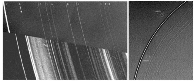 (Left) (Fig. 16-14 of Ref. 78). Voyager 2 images of the Uranian ring system first in backscattered light (upper half) one day before passing by Uranus in Janaury 1986 and second, in forward scattered light (lower half), taken after passing by Uranus and looking backward. The nine labeled rings (upper half) are those discovered by stellar occultation measurements. The forward scattering view dramatically enhances the visibility of micron-sized particles, revealing structures not otherwise visible. Also note the mismatch of the two views of the epsilon ring, a consequence of its significant eccentricity. (Right) [JPL P29466]. Voyager 2 discovered two moons (1986U7, named Cordelia, and 1986U8, named Ophelia) that are shepherd satellites. The inner moon pushes ring particles outward, and the outer moon pushes them inward. This prevents the narrow rings from spreading out.