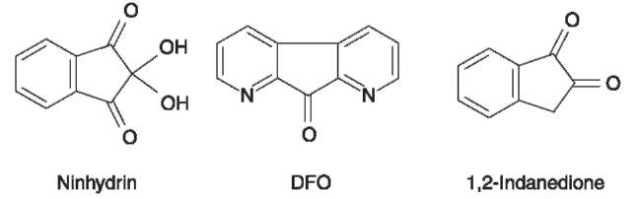 Formulae for ninhydrin; 1,8-diaza-9-fluorenone (DFO) and 1,2-indanedione.
