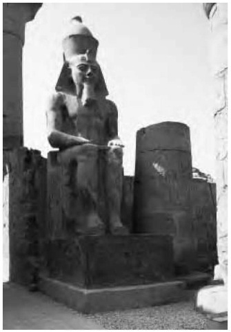 Ramesses II depicted in a colossal statue in Luxor temple.
