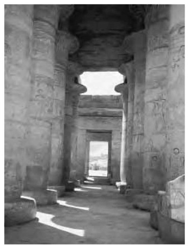Ramesseum columns, part of the elaborate hypostyle hall in the funerary monument of Ramesses II.