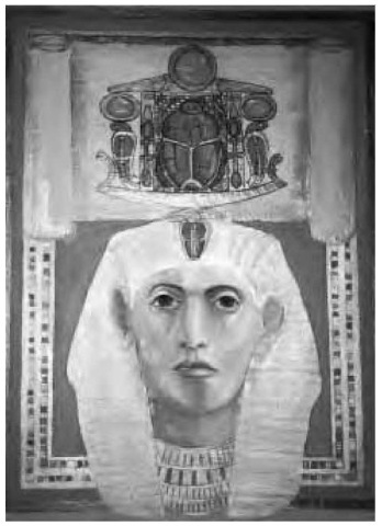 An oil portrait of Senwosret III, the great Middle Kingdom Period warrior pharaoh, displaying the sacred scarab.
