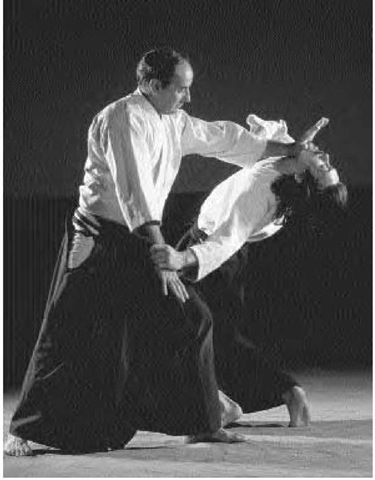 "An aikido approach to conflict begins with searching for a way to ""blend with"" rather than oppose aggressive action. Here two men practice aikido."