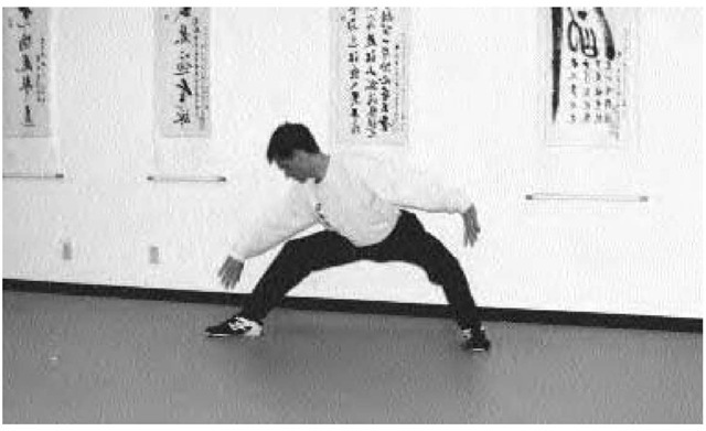 A student practices xingyiquan at the Shen Wu Academy of Martial Arts in Garden Grove, California.