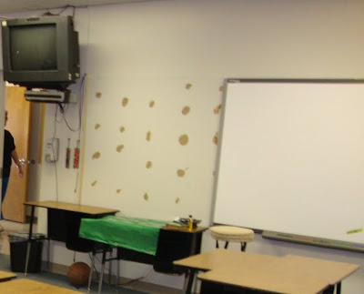 This zoomed picture hopefully orients you in my classroom...see those nasty spots on the wall where they took down a bulletin board to put up the SMARTBoard?