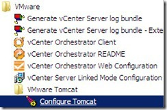 vCenterTomcat - start menu