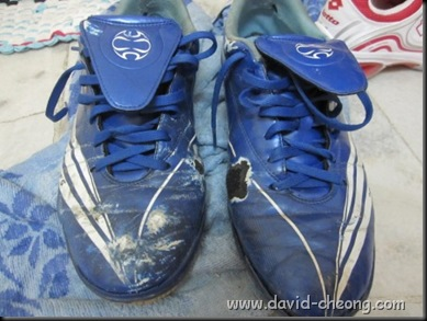 old blue addidas futsal shoe