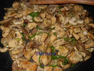 calabacines rellenos de champi, con las verduras