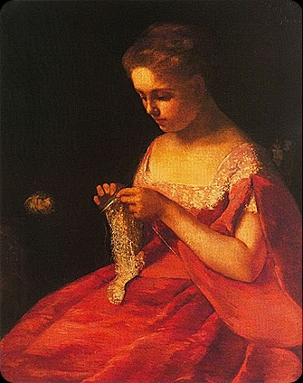 Dama de rojo tejiendo