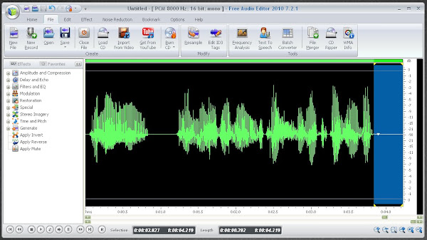 Free Audio Editor 2011 (www.free-audio-editor.com) Editing Audio Files