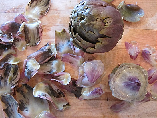 Prepping the Artichokes