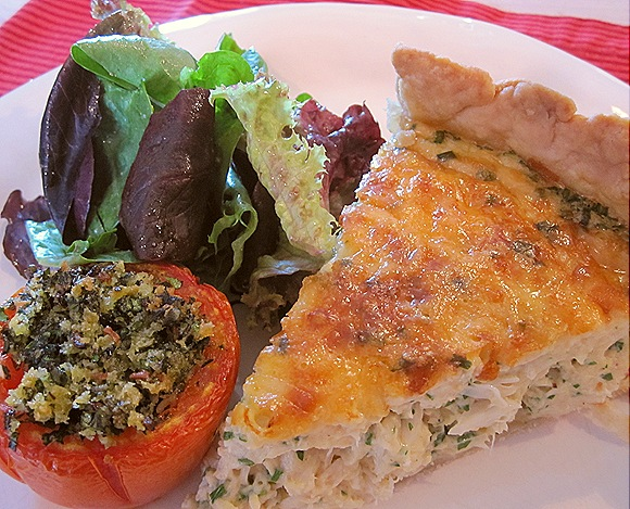 Crab Quiche with Stuffed Tomato and Spring Green Salad