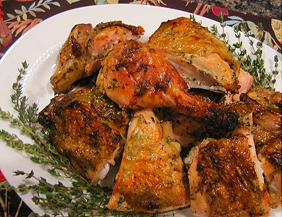 Herb-Marinated Chicken Grilled Under a Brick
