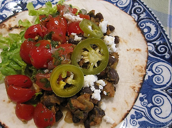 Black Bean & Chorizo Taco with Pickled Jalepenos & Grape Tomato Salsa
